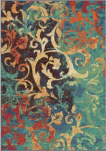 Orian Rugs 2818 Spoleto Scroll Watercolor Scroll Multicolor Area Rug44 7.83 x 10.83 ft.