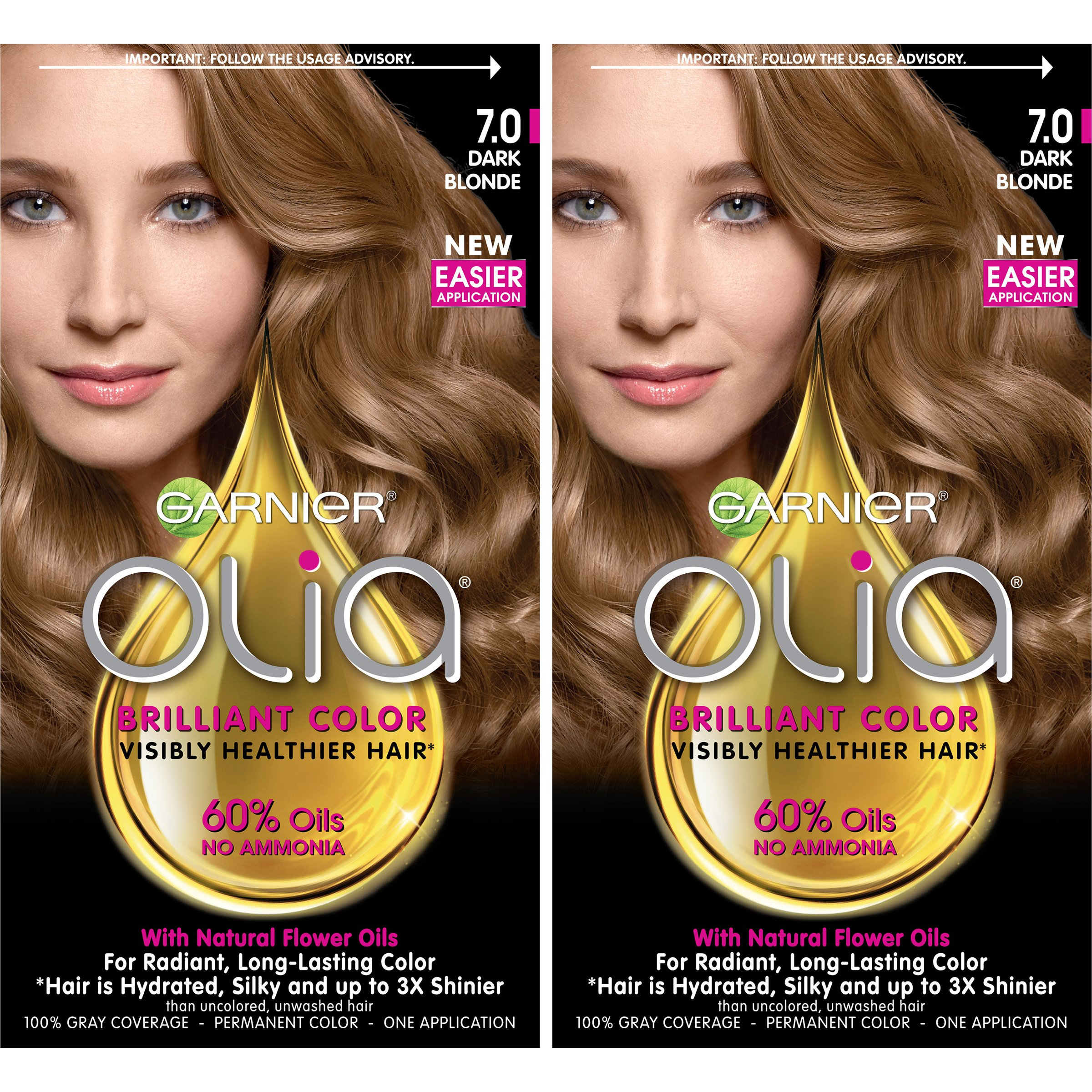 Garnier Olia Ammonia-Free Brilliant Color Oil-Rich Permanent Hair Color, 7.0 Dark Blonde (2 Count) Blonde Hair Dye by Garnier