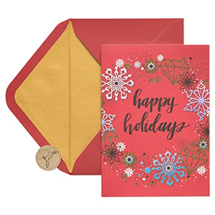 papyrus contemporary wreath holiday cards boxed with gold foil lined envelopes 14 count - Papyrus Holiday Cards