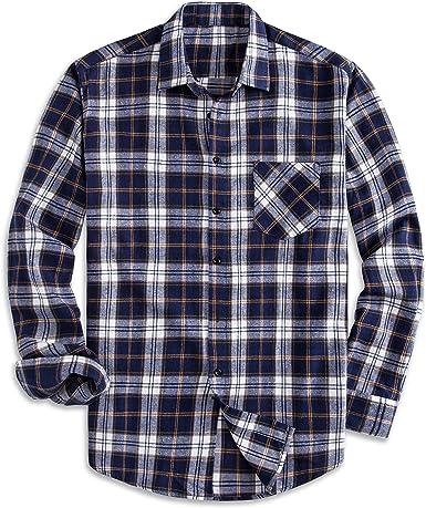 PIZZ ANNU Camisa 100% de algodón de Manga Larga a Cuadros en Fleece Camisa de Franela con Botones: Amazon.es: Ropa y accesorios