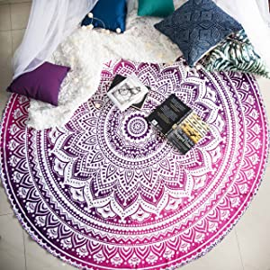 Magenta Marvel Mandala Round Tapestry Hippie Indian Mandala Beach Roundie Picnic Table Throw Hippy Bohemian Spread Boho Gypsy Cotton Tablecloth Beach Towel Meditation Round Yoga Mat - 72 Inches, Pink