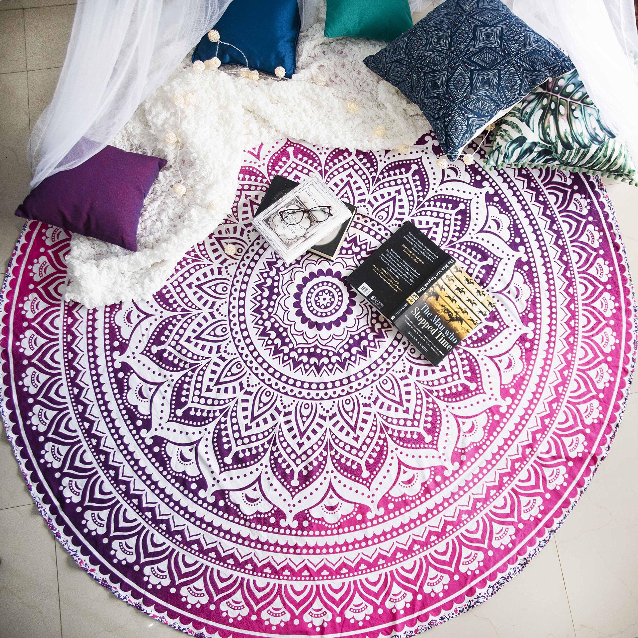 Magenta Marvel Mandala Round Tapestry Hippie Indian Mandala Beach Roundie Picnic Table Throw Hippy Bohemian Spread Boho Gypsy Cotton Tablecloth Beach Towel Meditation Round Yoga Mat - 72 Inches, Pink