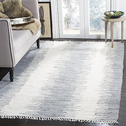 Safavieh Montauk Collection MTK751K Handmade Flatweave Grey Cotton Area Rug 5 x 8