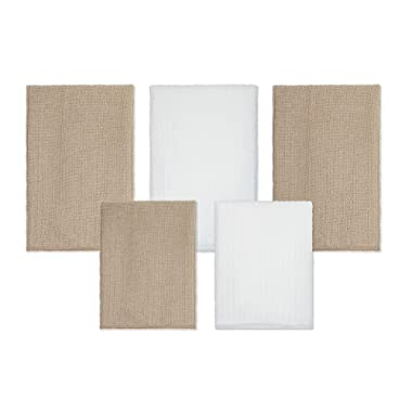 DecorRack Kitchen Towel Set, Microfiber Dish Drying Cloth, 3 Large (19 x 16) and 2 Small (13 x 13) Towels, Beige & White (Set of 5)