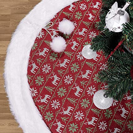 Valery Madelyn 48 Red Green White Knitted Christmas Tree Skirt With Pom Pom Balls And Faux Fur Theme With Classic Collection Splendor Christmas