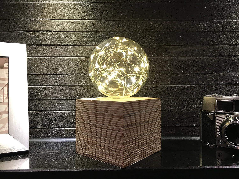 Beleuchtete Glaskugel mit Holzkubus Stimmungslicht Ambiente Design Handgefertigt Natur zur Dekoration für jeden Anlass Batteriebetrieben [Energieklasse A++]