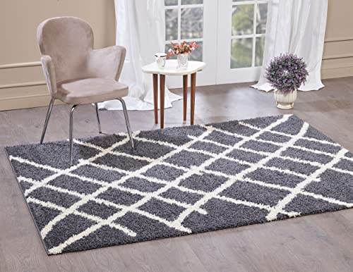 A2Z Rug Moroccan 5530 Shag Collection Dark Gray, Ivory 6 6 x 9 6 FT Area Rugs Living Room Dinning Room Play Room