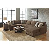 Justyna Contemporary Teak Color Fabric Right Chaise Sectional Sofa