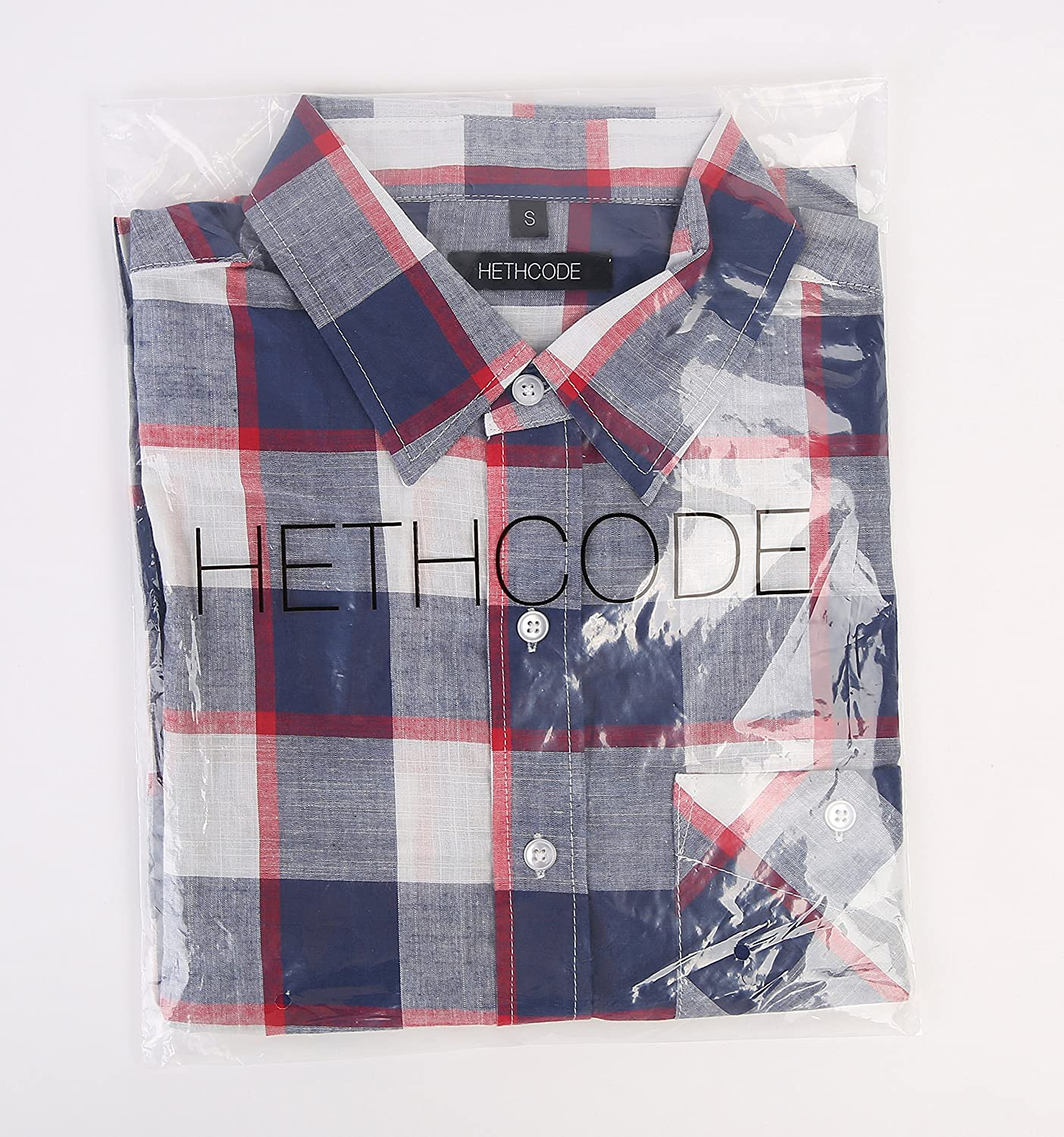 HETHCODE Mens 100/% Cotton Slim Fit Long Sleeve Plaid Button Down Casual Shirts