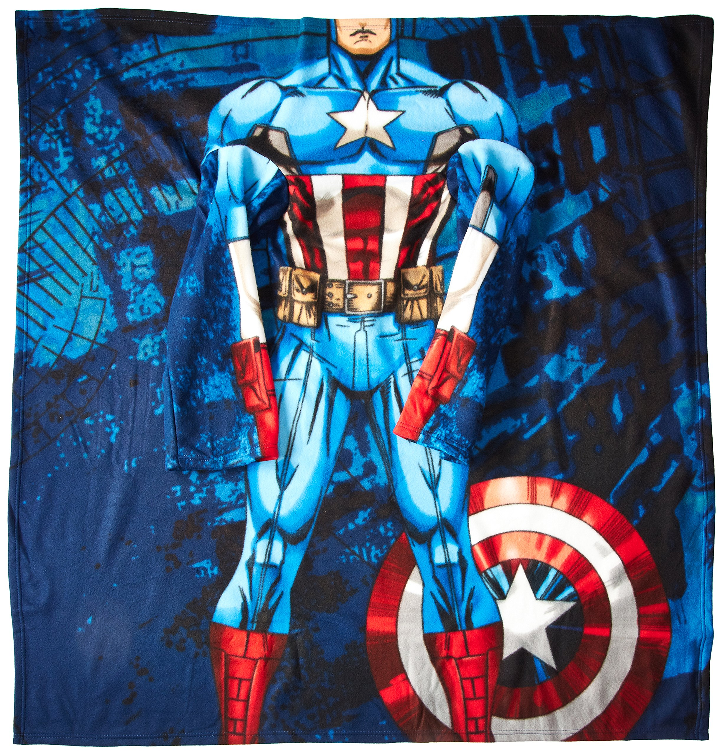 Marvel Captain America, First Avenger Youth Comfy Throw Blanket with Sleeves, 48'' x 48''