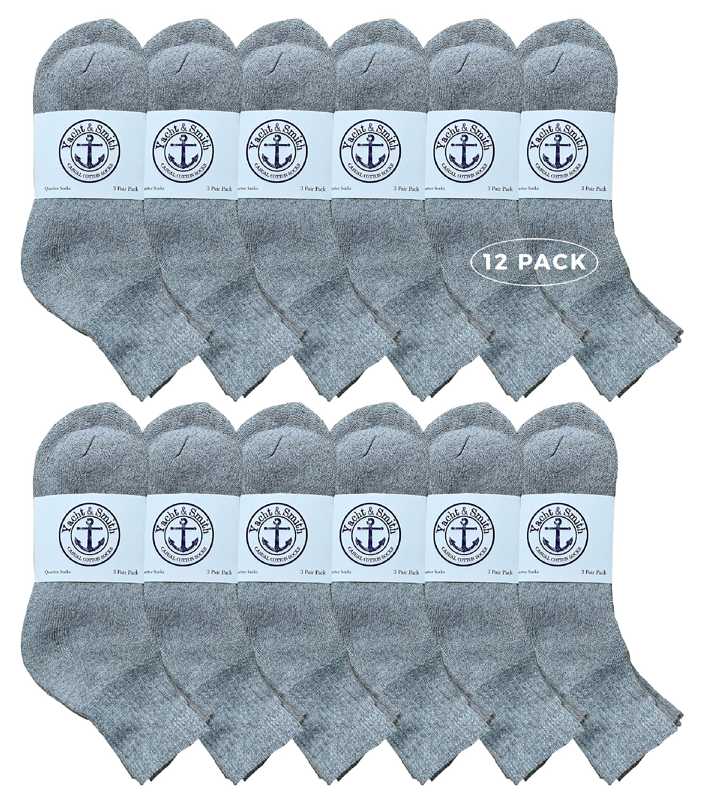 Yacht & Smith Wholeasle Kids Mid Ankle Socks, Cotton Bulk Sport Ankle Socks - 6-8 - Gray - 12 Packs by Yacht & Smith