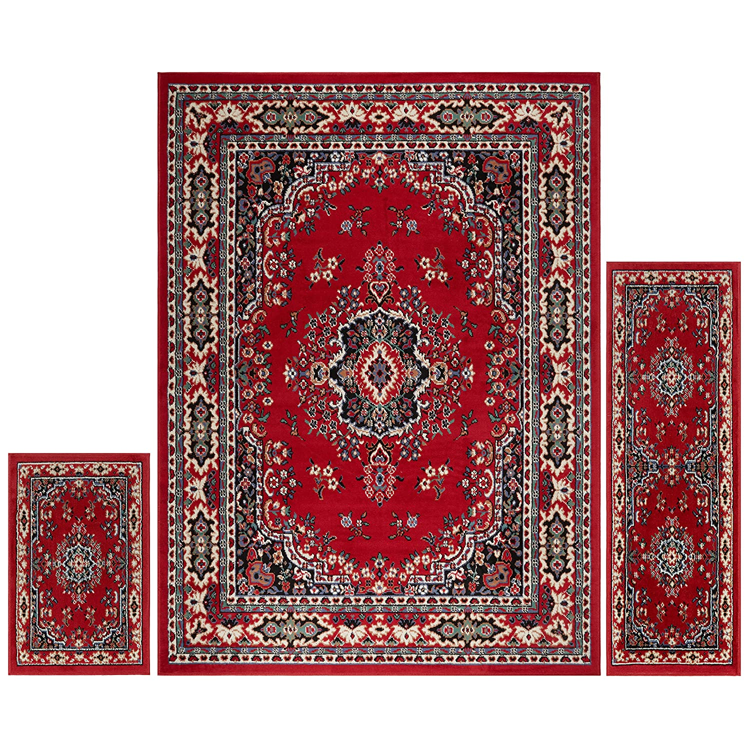 Home Dynamix Area Rugs: Ariana Rug: 7069 Traditional Persian Medallion Claret: 3 Piece Set