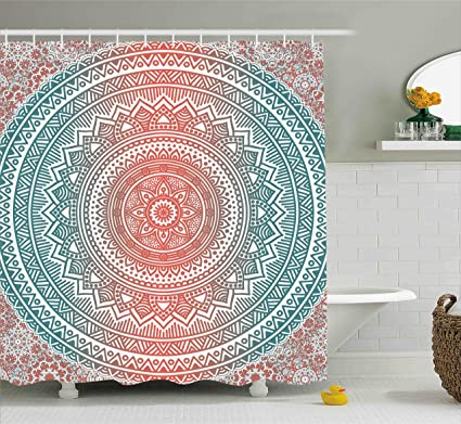 Ambesonne Teal And Coral Shower Curtain Ombre Mandala Art Antique Gypsy Stylized Folk Pattern Mystical