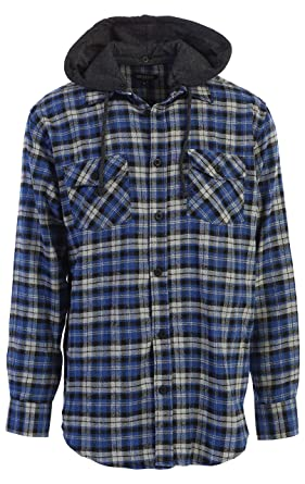 e72f4c565e51 Gioberti Men s Removable Hoodie Plaid Checkered Flannel Button Down ...