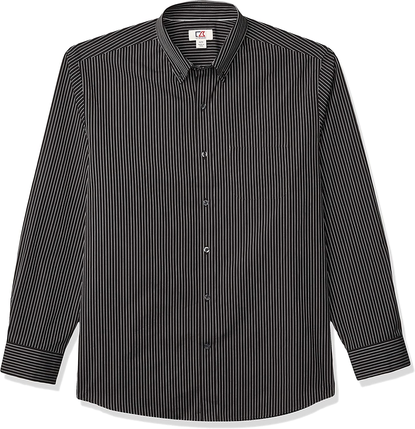 overseas Cutter Buck Men's Long Sleeve Epic Large discharge sale Easy Pin-Stripe Care