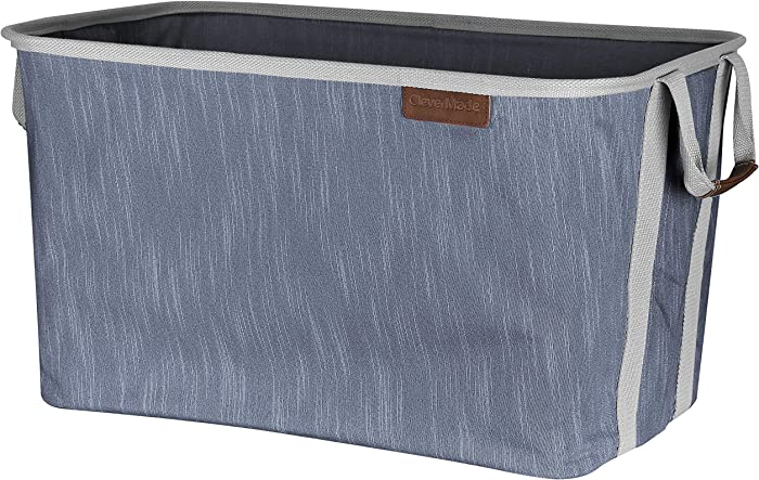 CleverMade Collapsible Fabric Laundry Basket - Durable Pop Up Storage Organizer with Handles - Space-SAVING XL Clothes Hamper with Sturdy Frame, Navy/Grey, Model:7077-4024-41031PK