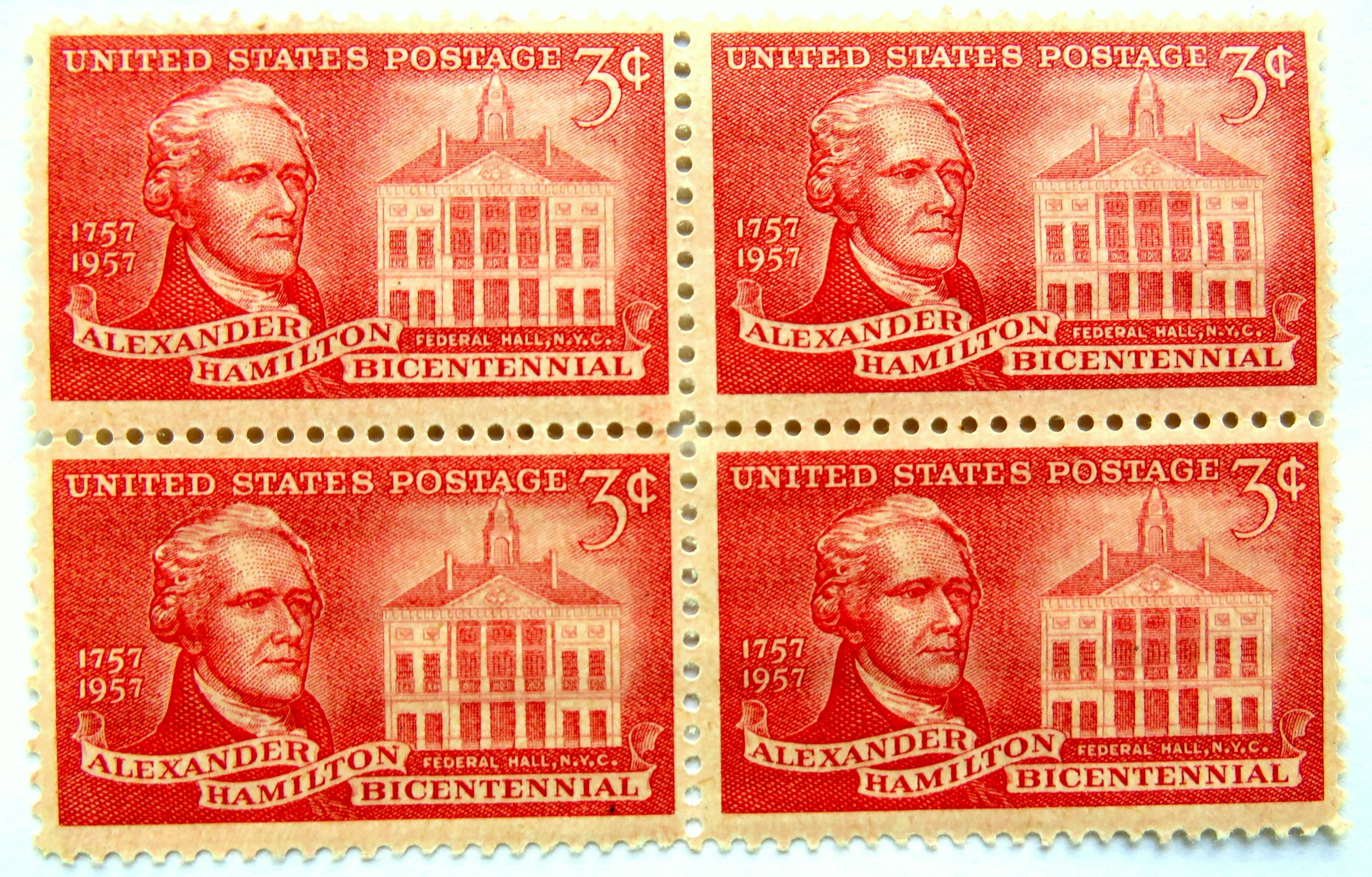 Scott # 1086 Alexander Hamilton Bicentennial 3 Cent Stamp Block of 4 Mint Never Hinged