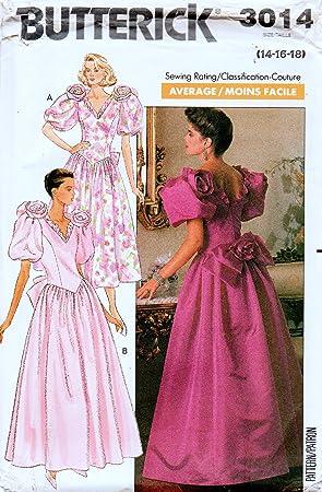 Butterick 3014 Misses Vestido de noche, baile, dama de honor, patrón de costura