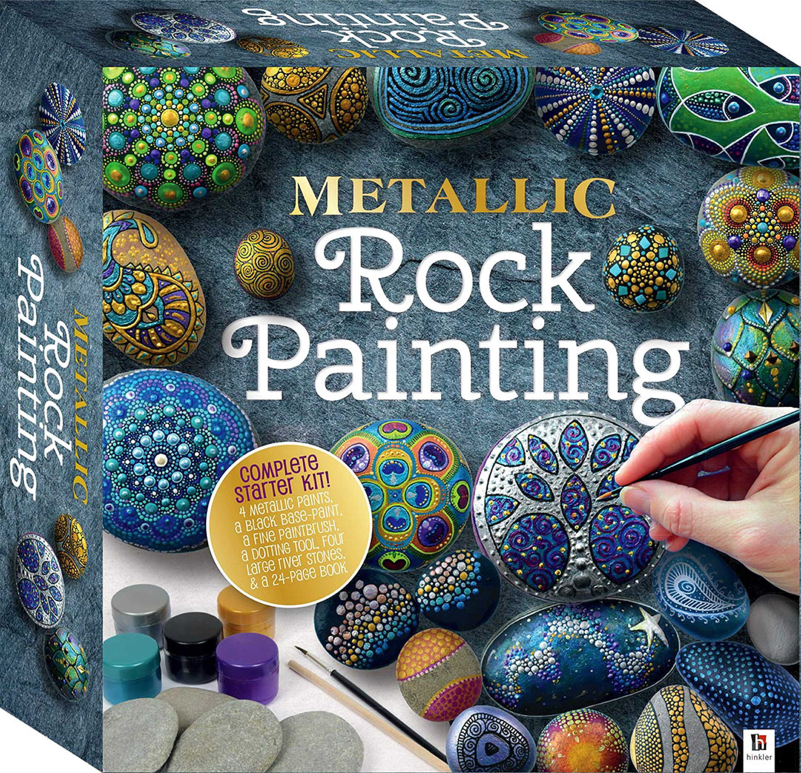 Metallic Rock Painting-This Complete Starter Kit contains all you wish to have to create 8 Luminous Metallic Designs