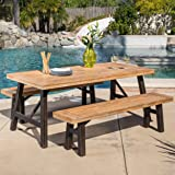 Great Deal Furniture Valverde | 3 Piece Wood Outdoor Picnic Dining Set | Perfect for Patio | with Teak Finish