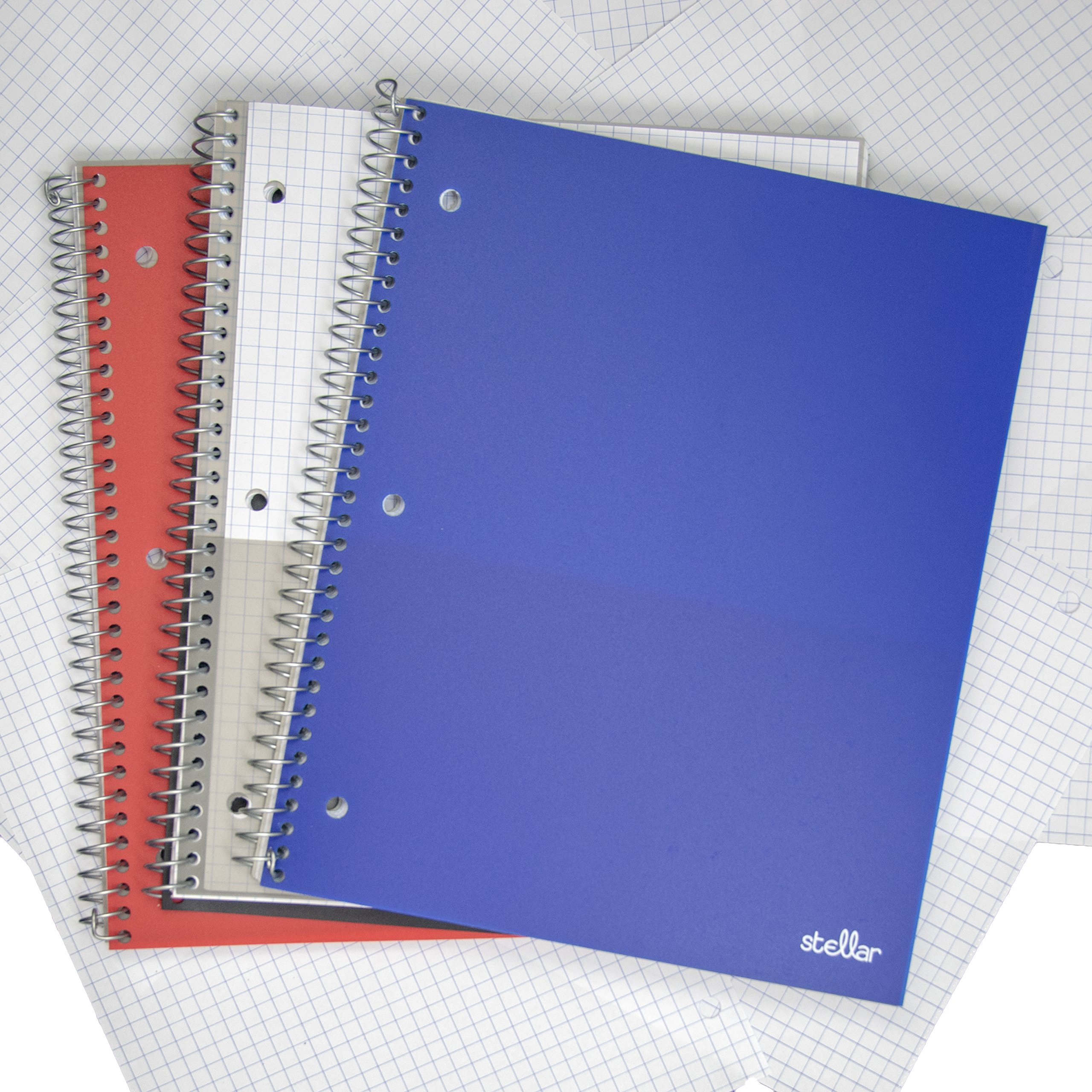 Stellar GRAPH Notebooks, Durable Poly Cover, 1-Subject, 8-1/2 x 11-Inches, 3/Pack (Black, Blue, Red)