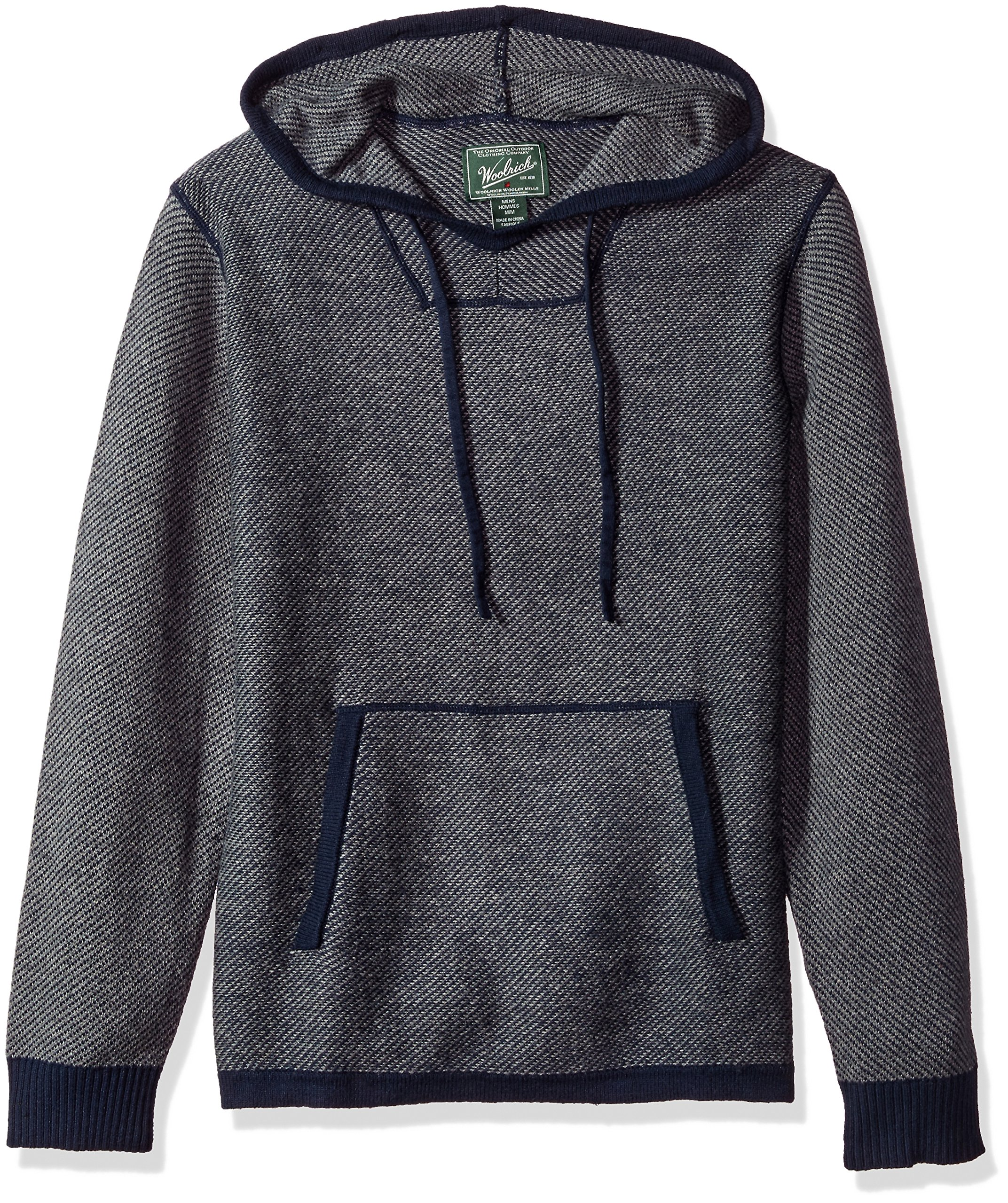 Woolrich Men's Twill Baja Hooded Merino Sweater, Deep Indigo, Extra Large