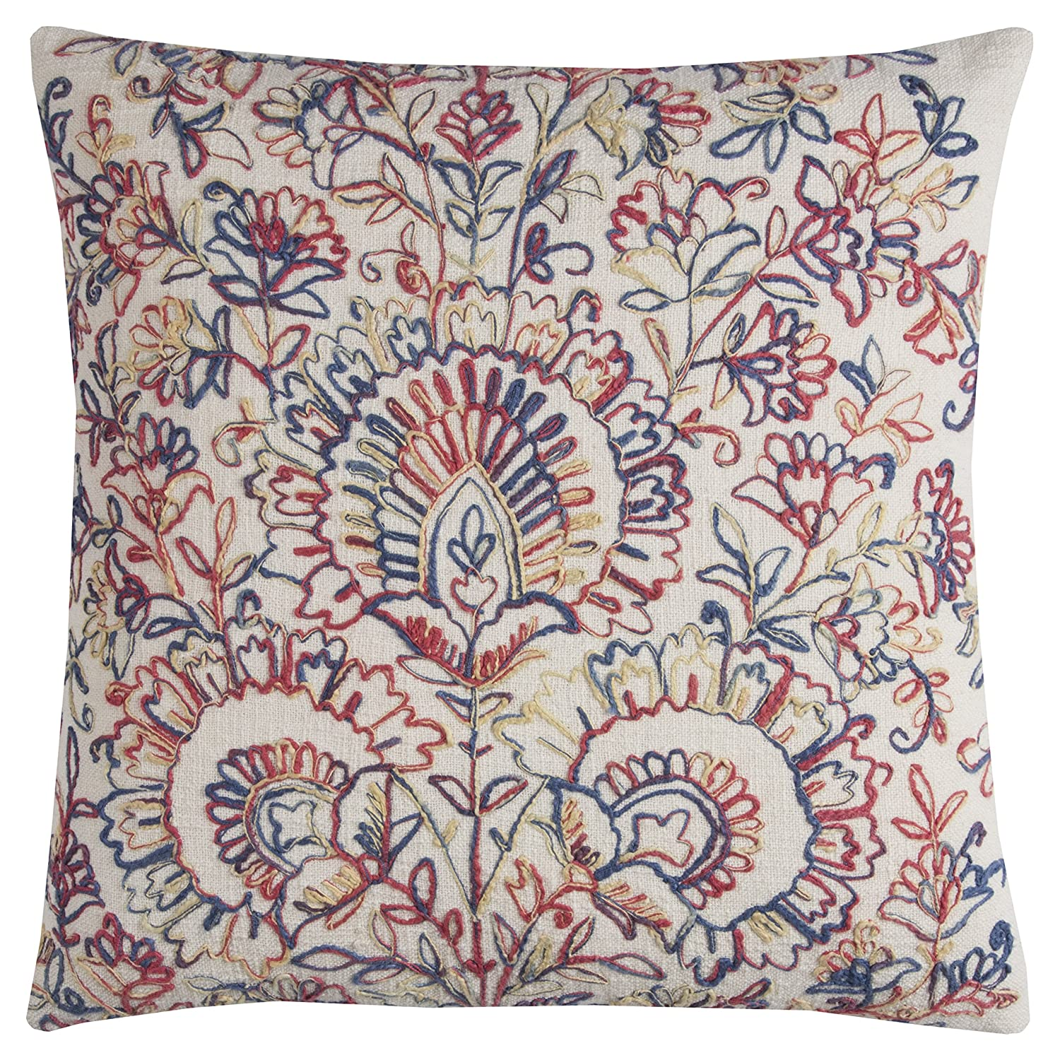 Rizzy Home T11382 Decorative Poly Filled Throw Pillow 20 x 20 Multicolor