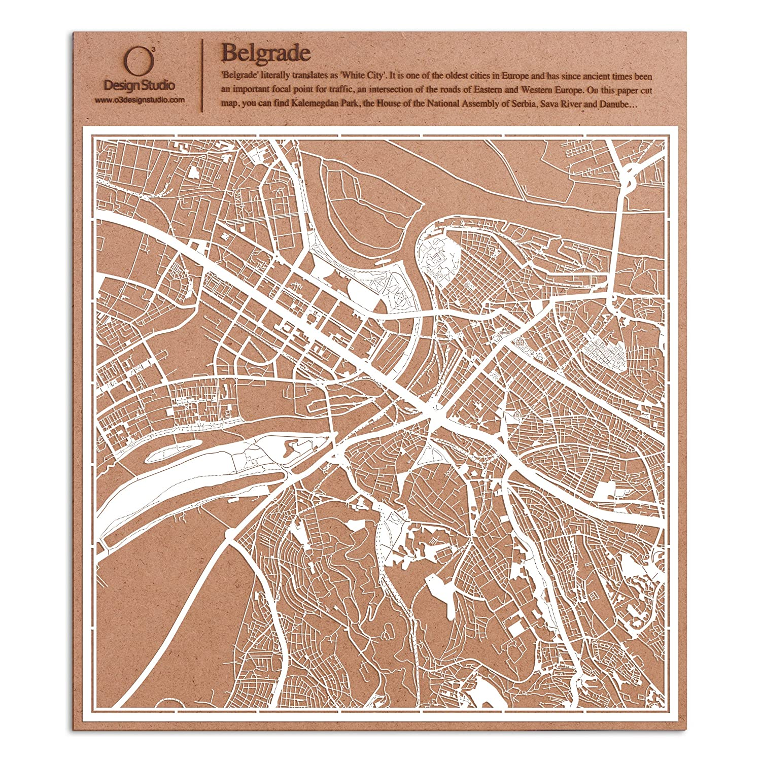 Amazon Com Belgrade Paper Cut Map By O3 Design Studio White 12x12