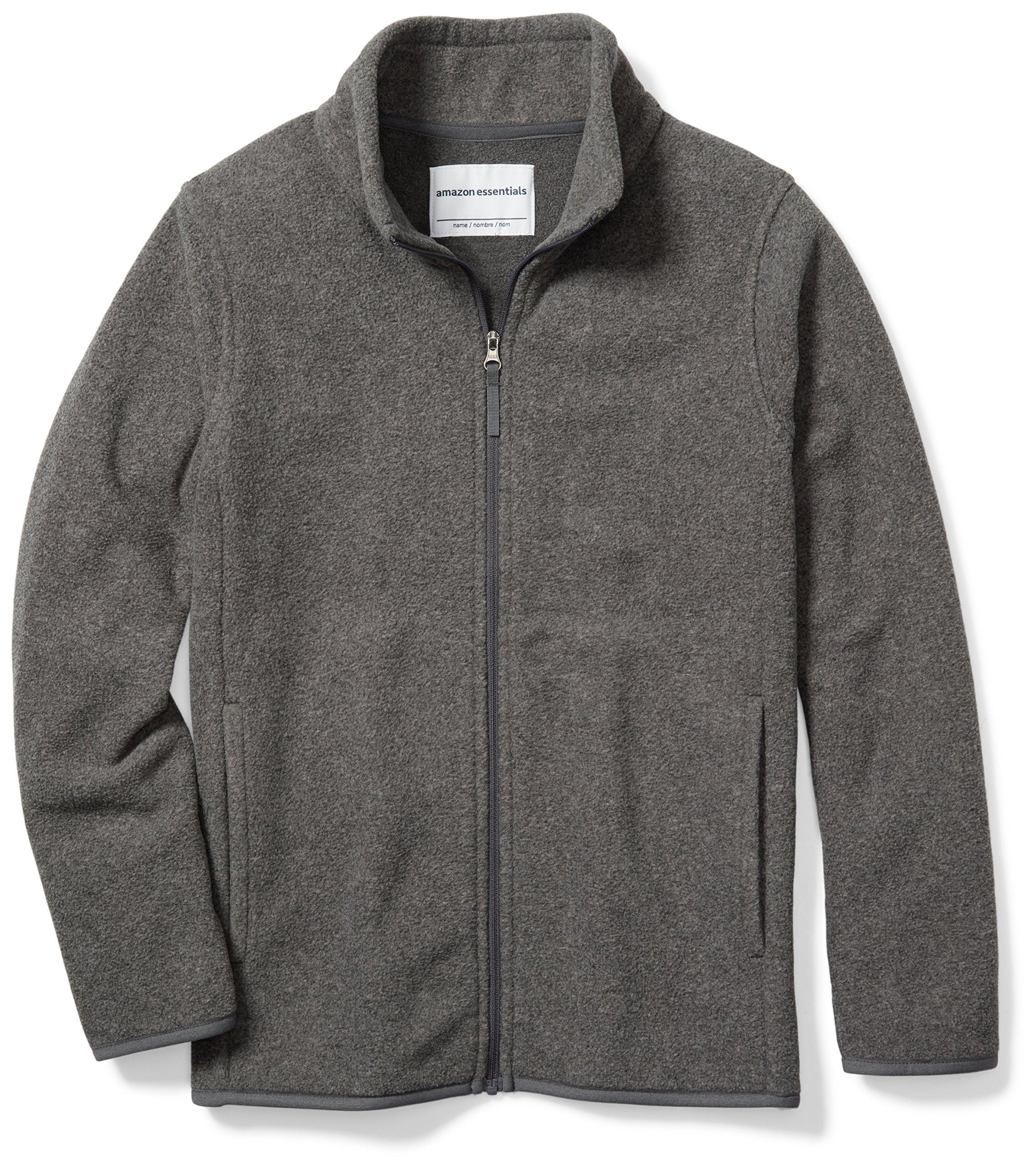Amazon Essentials Boys' Full-Zip Polar Fleece Jacket, Grey Charcoal Heather, Medium by Amazon Essentials
