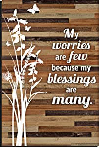 """Blessings Wood Plaque Religious Quotes (6 x 9 Inch) - Durable and Rustic Vertical Wall and Tabletop Art Decoration with Easel and Hanging Hook 