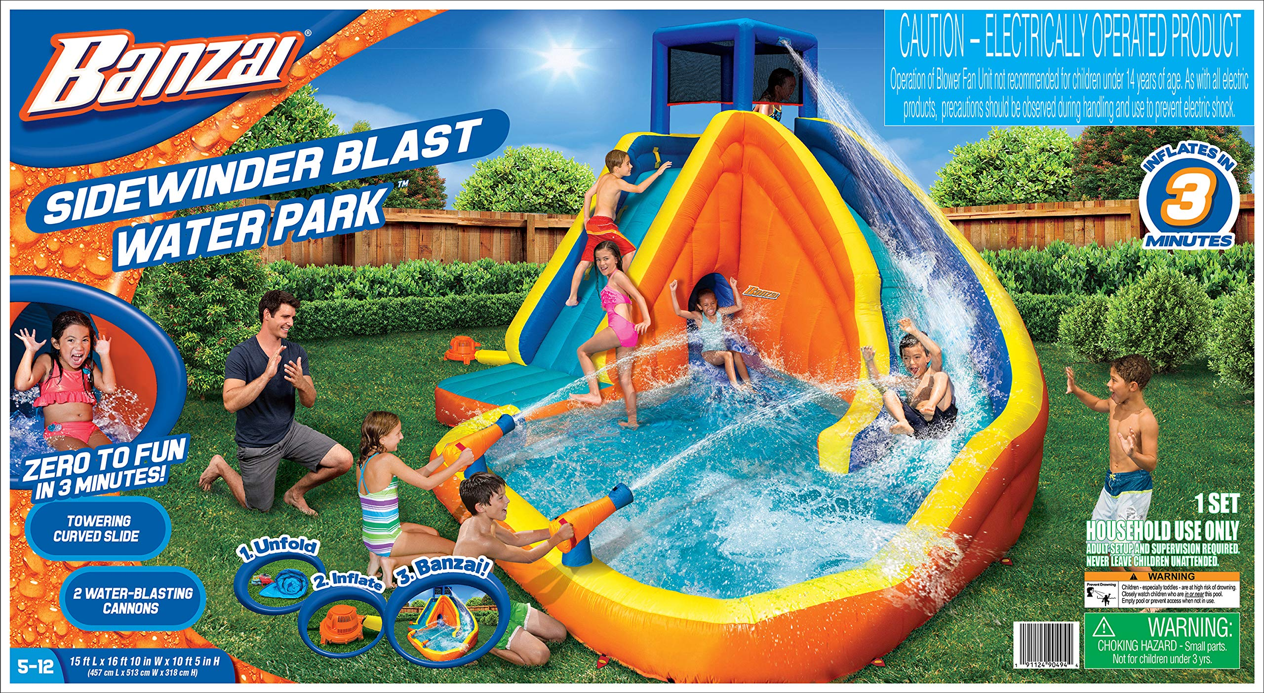 BANZAI 90494 Sidewinder Falls Inflatable Water Slide with Tunnel Ramp Slide by BANZAI (Image #5)