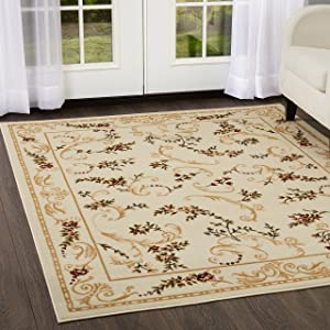 """Home Dynamix 11019-100 Optimum Apollo Area Rug 1'9""""x7'2"""", Traditional Floral Vines, Ivory/Burgundy/Yellow"""