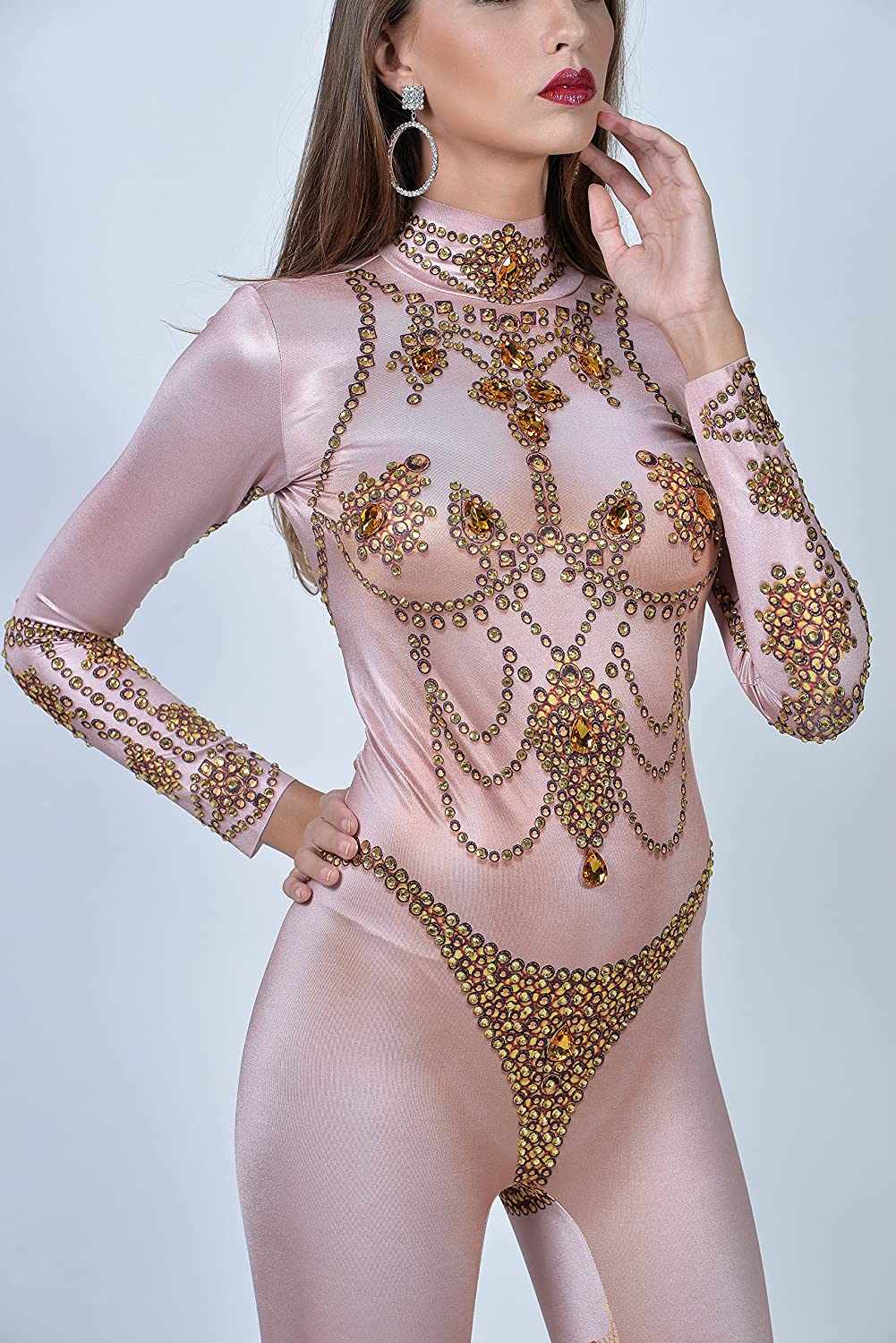 07a0605f92d Amazon.com  Charismatico Gold Crystallised Rhinestone 3D Print Cleavage  Showgirl Bodycon Clubwear Dance Romper Catsuit Jumpsuit US2-US6  Clothing