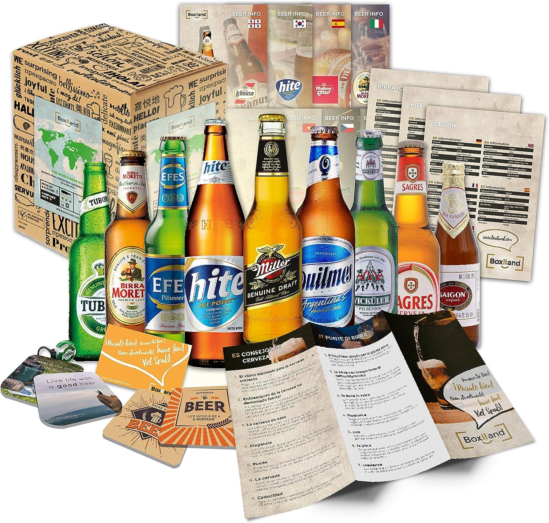 Set de regalo con cervezas extranjeras - Regalo de cumpleaños para novio - regalo de cumpleaños para hombre (9 cervezas exóticas x 0,33l) regalo para hacer una fiesta con papá: Amazon.es: Alimentación
