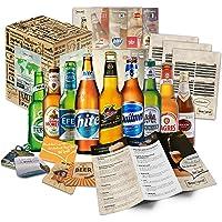 Collection de 9 bières du monde Bières du monde entier l Coffret cadeau pour les papas masculins l Tour du monde des bières en coffret cadeau l Cadeau pour la fête des pères et Noël