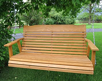 4u0027 Cedar Porch Swing, Amish Crafted W/stained Finish   Includes Chain U0026