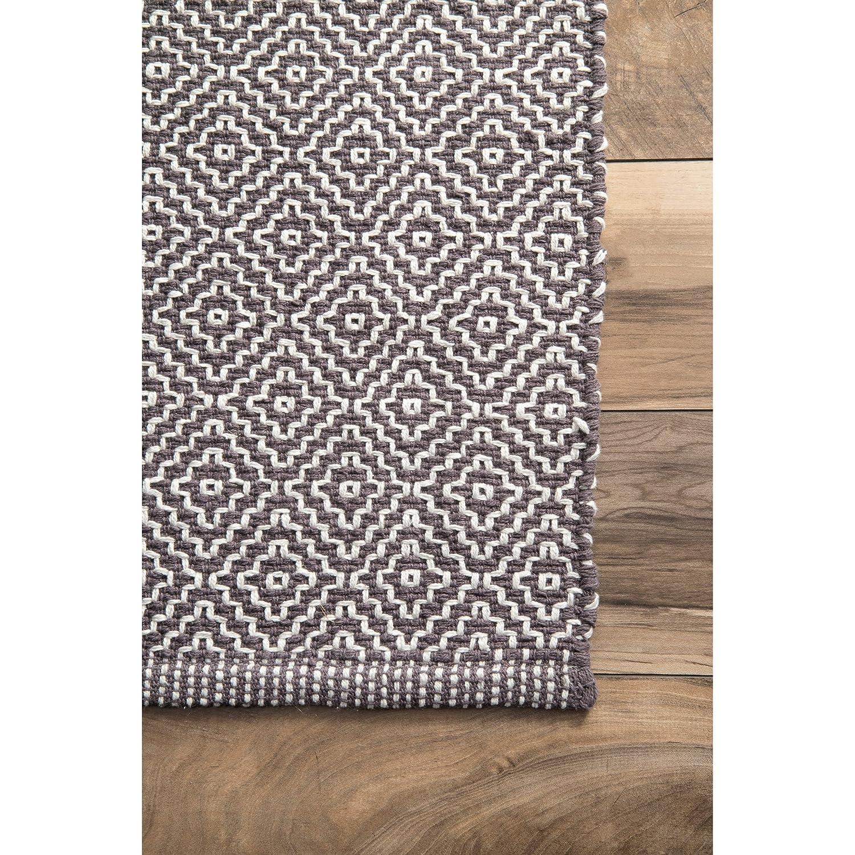 Rugs Usa Black Chalet Diamond Cotton Check Flatwoven Rug