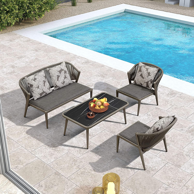 PURPLE LEAF Outdoor Conversation Set 4 Pieces Outdoor Furniture Set Aluminum Frame Outdoor Patio Set for Garden Lawn Backyard Deck, Patio Sofa Set