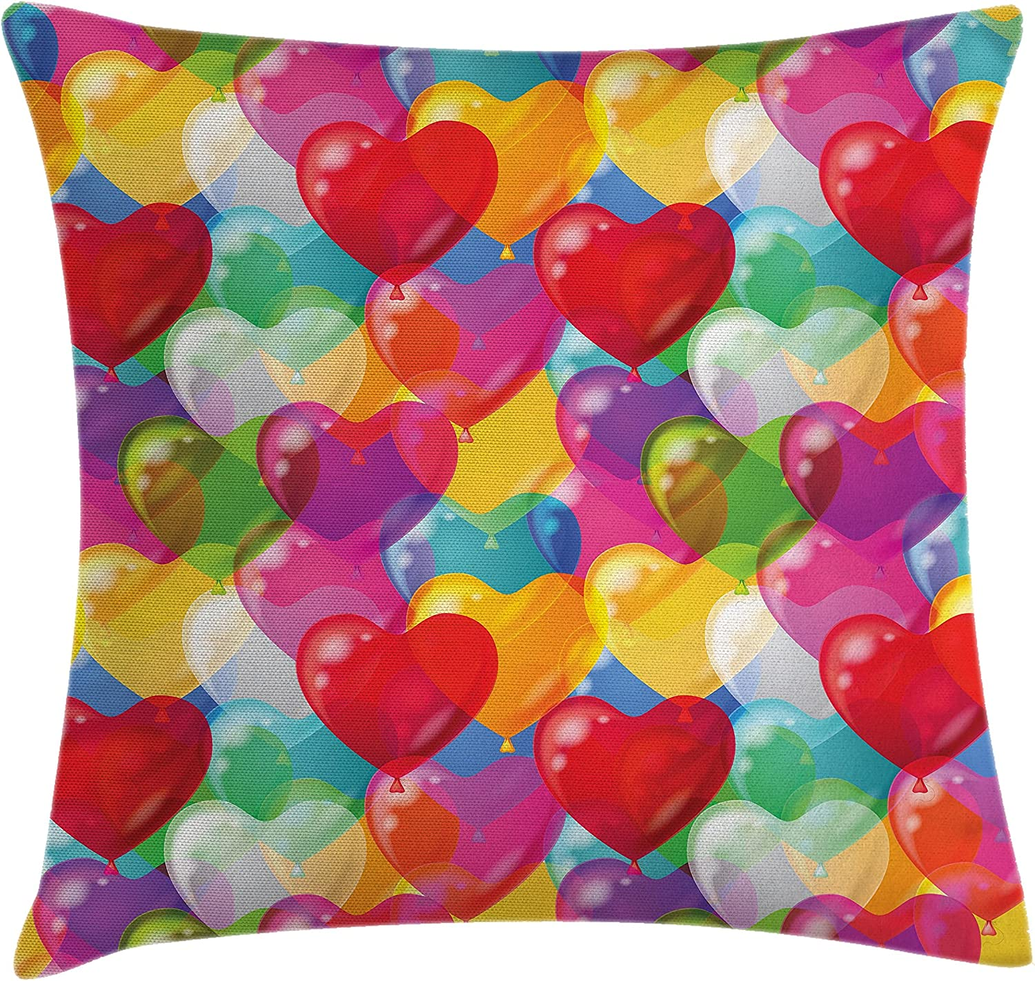 Amazon Com Ambesonne Love Throw Pillow Cushion Cover Heart Shaped Balloons In Colorful Illustration Cheerful Birthday Carnival Happiness Decorative Square Accent Pillow Case 16 X 16 Multicolor Home Kitchen