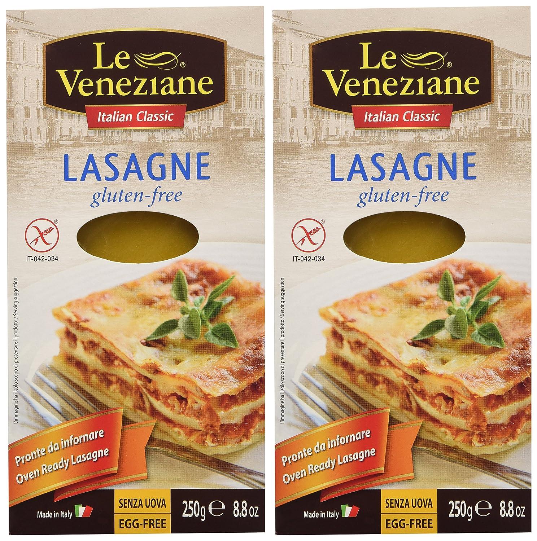 Le Veneziane Hojas de lasaña sin gluten 250 g 2 paquete ...