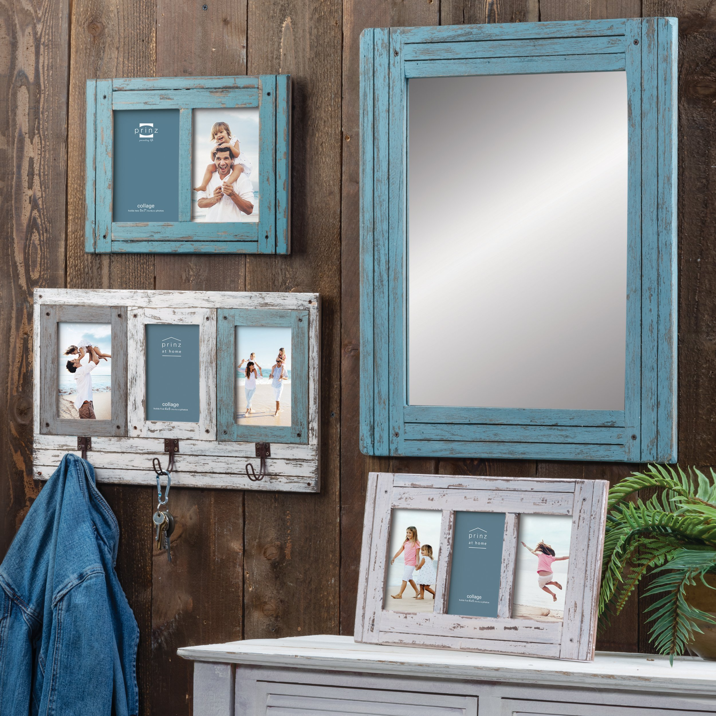 Prinz 18.5'' x 23.5'' Blue Water's Edge Homestead Mirror Distressed Wood by PRINZ (Image #2)