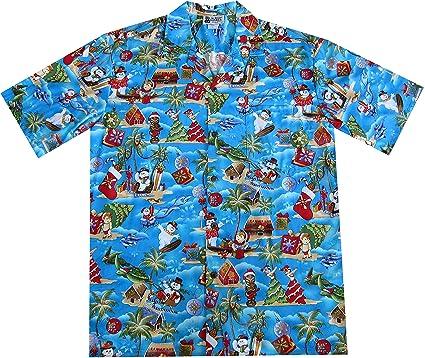 aloha republic small blue christmas holiday hawaiian shirt with frosty the snowman - Christmas In Hawaiian