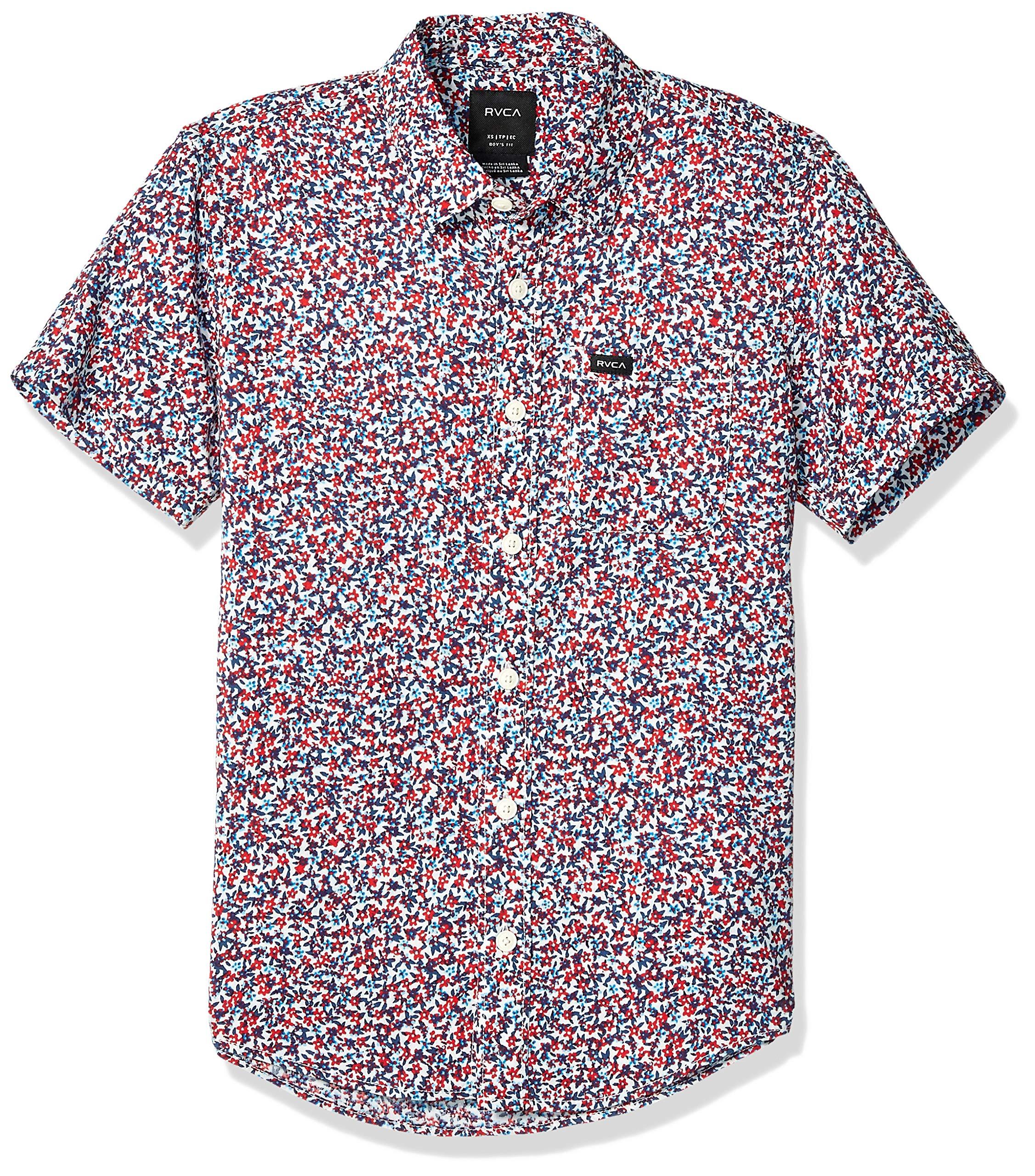 RVCA Boys' Big Revivalist Floral Short Sleeve Woven Button UP Shirt, Antique/White, M