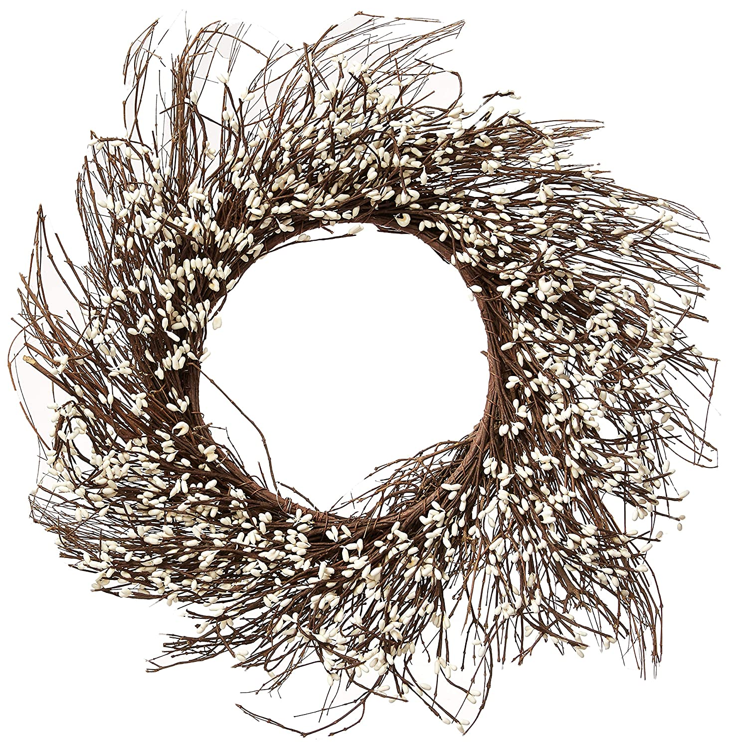 CWI Gifts Pip Berry Twig Wreath, 22-Inch, Ivory/Vanilla FT082I