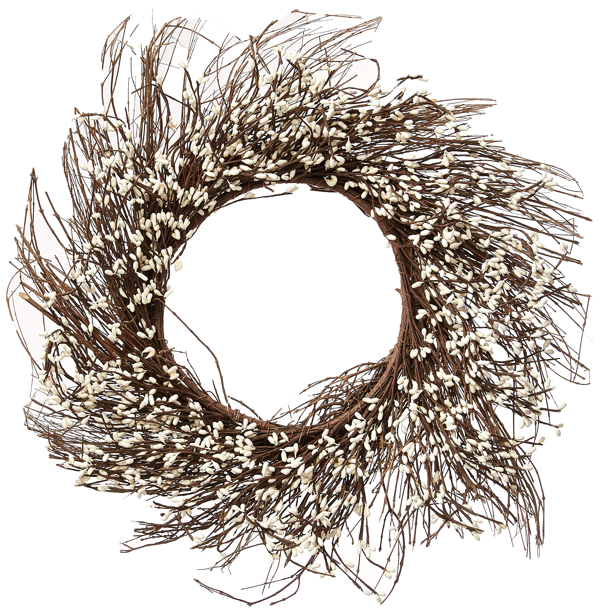 CWI Gifts Pip Berry Twig Wreath, 22-Inch, Ivory/Vanilla