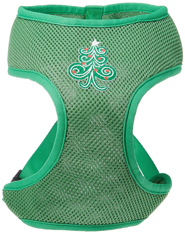 (X-Large, Emerald Green) Mirage Pet Products 70-27 XLEG Swirly Christmas Tree Screen Print Soft Mesh Harness Emerald Green Extra Large