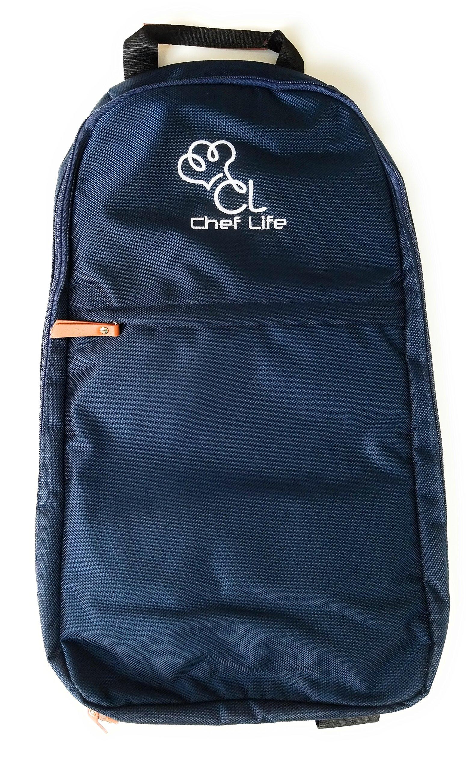 Premium Elite Ergonomic Chef Knife Backpack Roll Bag Case - 17 Pockets - Water Resistant Military Grade Ballistic Nylon