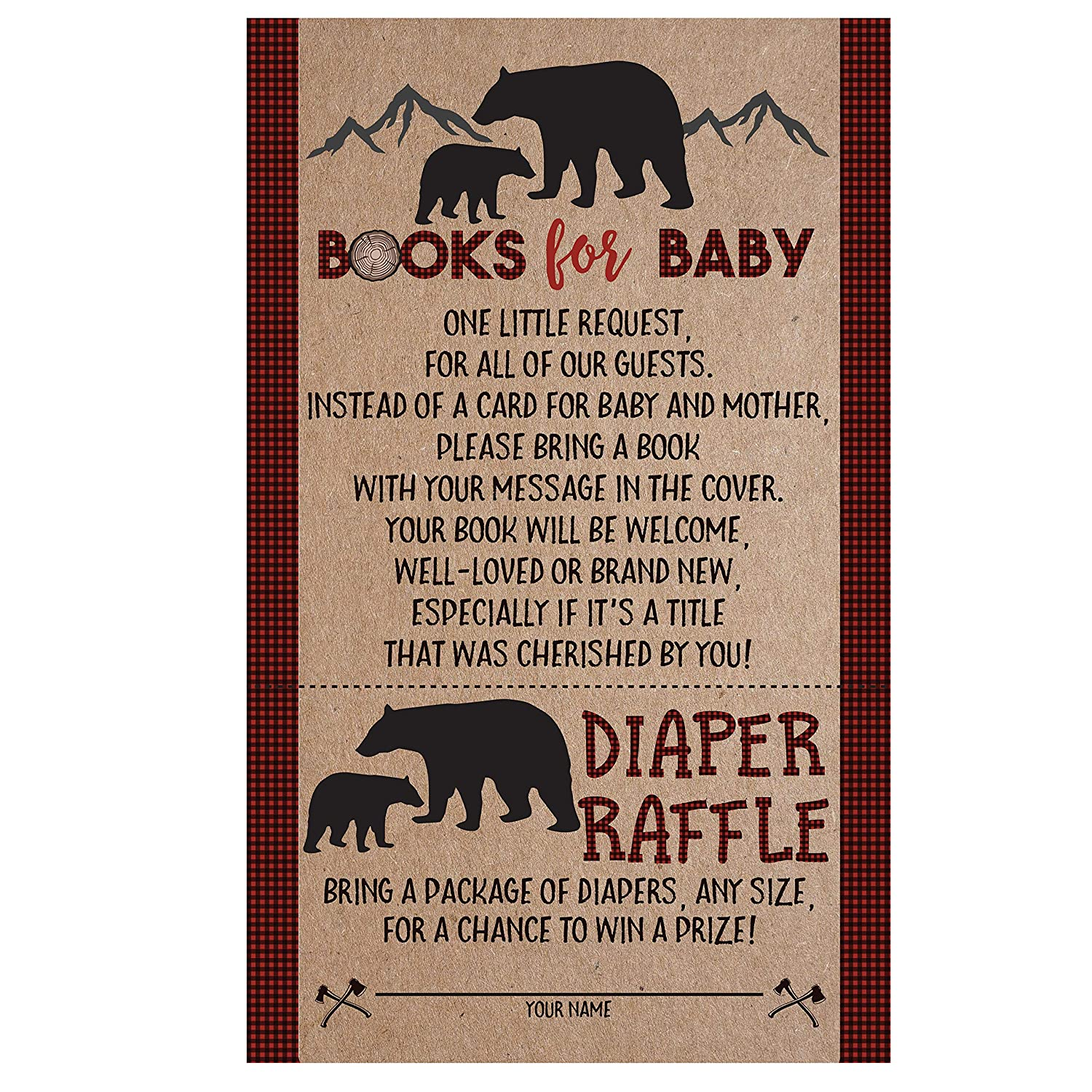 Lumberjack Baby Shower Bear Book Request Diaper Raffle Card, Lumberjack Book Request Card, Bear Diaper Raffle Card, 50 Count Your Main Event Prints