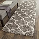 """Safavieh Hudson Shag Collection SGH280B Grey and Ivory Moroccan Ogee Plush Area Rug (2'3"""" x 3'9"""")"""