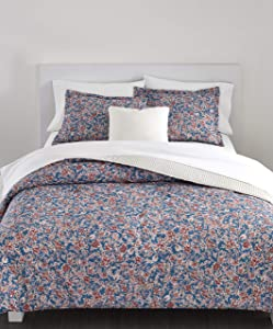 Chaps Home Rosemount Floral 100% Cotton Printed 3-Piece Reversible, Highly Breathable Comforter Set, King, Pink